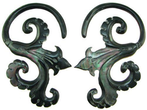 Large Gauge Black Mother of Pearl Spiral Floral Hook Earrings