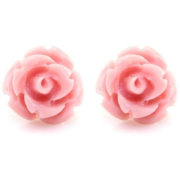 Handcrafted Resin Color Simulated Coral Rose Flower Earring Studs 6 99 Liked On Polyvore Fea Flower Jewellery Flower Earrings Studs Rose Stud Earrings