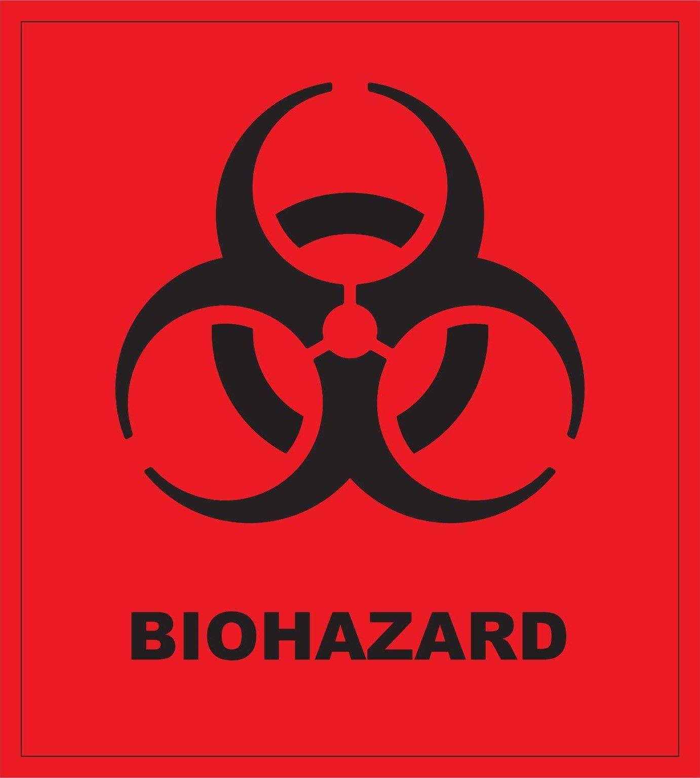 Biohazard Symbol And Text Black On Red Universal Labelslogos