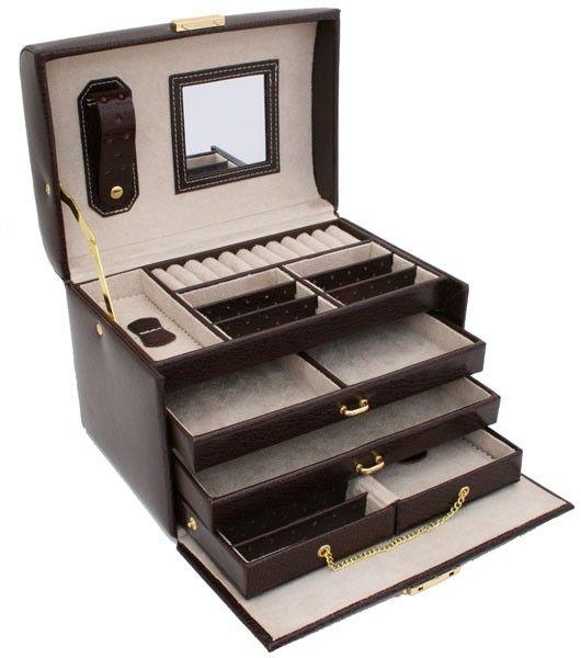 ae7fb4708aaa Boite à bijoux en cuir AMSTERDAM, magnifique boite à bijoux en cuir  entièrement fabriquée à