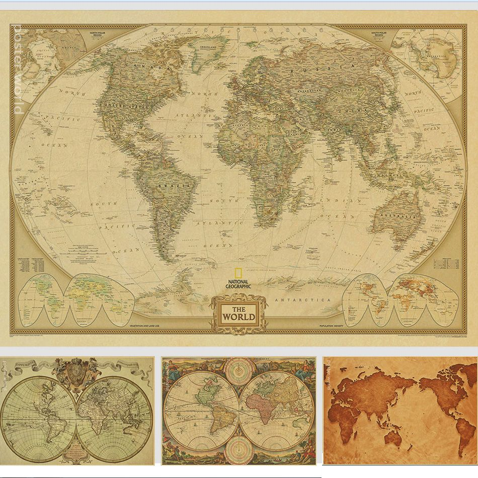 Vintage World Map Home Decoration Detailed Antique Poster Retro ...