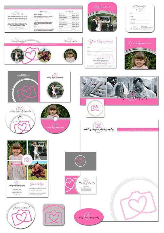 Photography marketing set kit pink camera grey by AquariusLogos, $24.99