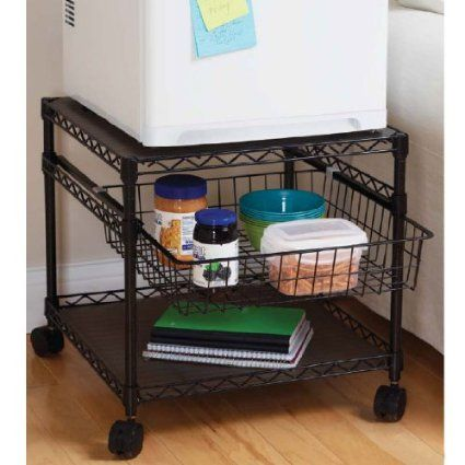 multi purpose rolling utility cart 2 shelf mini fridge stand office products. Black Bedroom Furniture Sets. Home Design Ideas