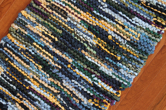 Sunshine Yellow Forest Green And Denim Blue Lend A Cheerful Feel To Our Hand Knitted Tshirt Rug Rag T Shirt Upcycled Knits By