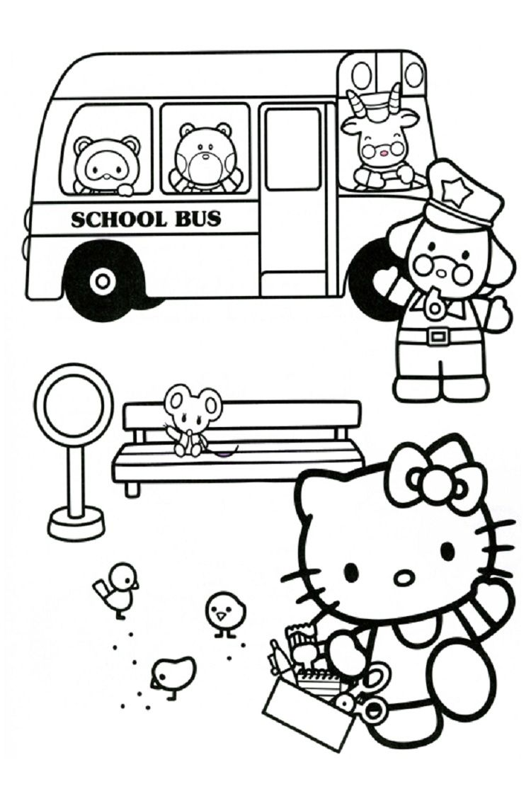 Hello kitty coloring pages school bus