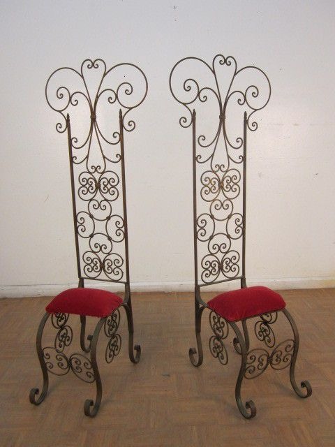A Decorative Pair Of Antique Italian Wrought Iron Garden Chairs