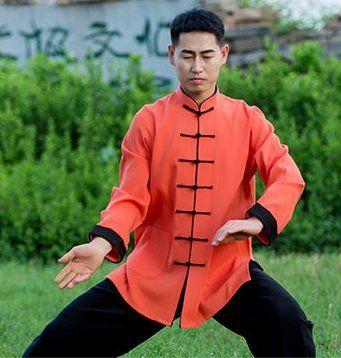 0c7519867 Asia-Sale Best Tai Chi, Kung Fu Clothing & Equipment Shop - Black Outerseam  Hot Orange Hemp and Linen Wudang Tai Chi Clothing with Open Sleeves