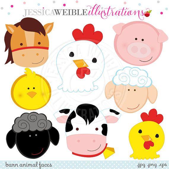 Barn Animal Faces Cute Digital Clipart - Commercial Use OK - Farm ...