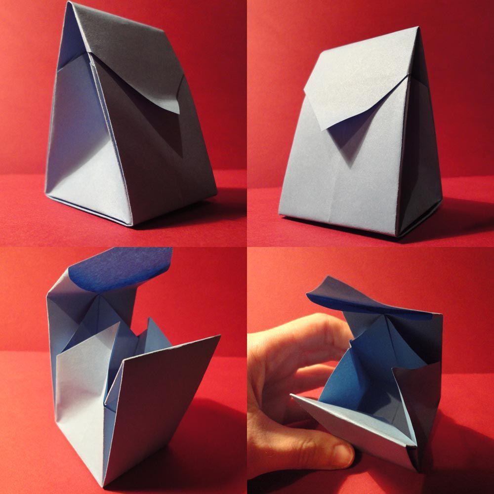 Boa Para Pequenos Presentes De Carmen Sprung No Livro Origami You Can Use De Rick Beech Usei Um Quadrado De 21cm De Papel D Origami Origami Papir Sjovt
