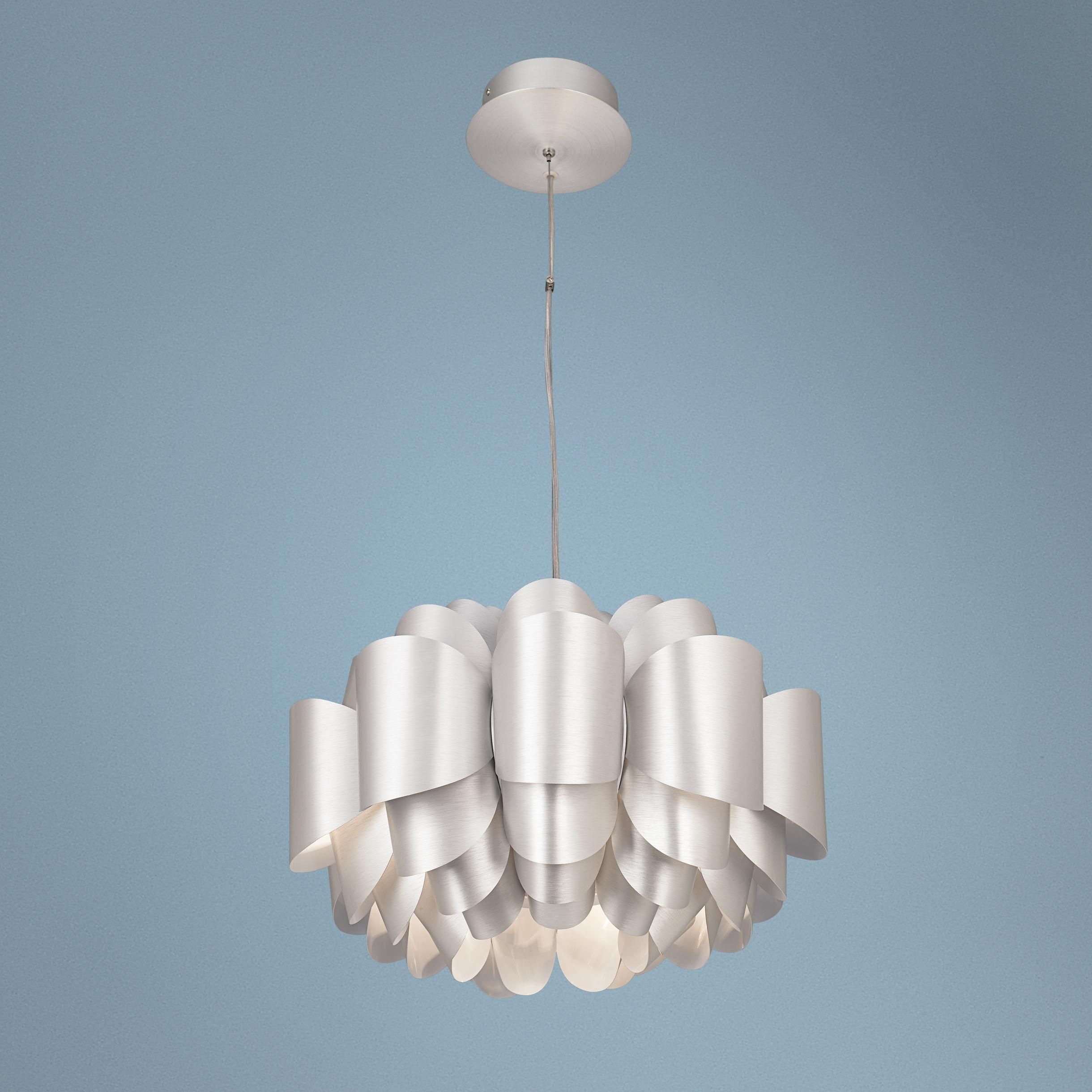 Dining room chandelier possini euro design aluminum lotus for Possini lighting website