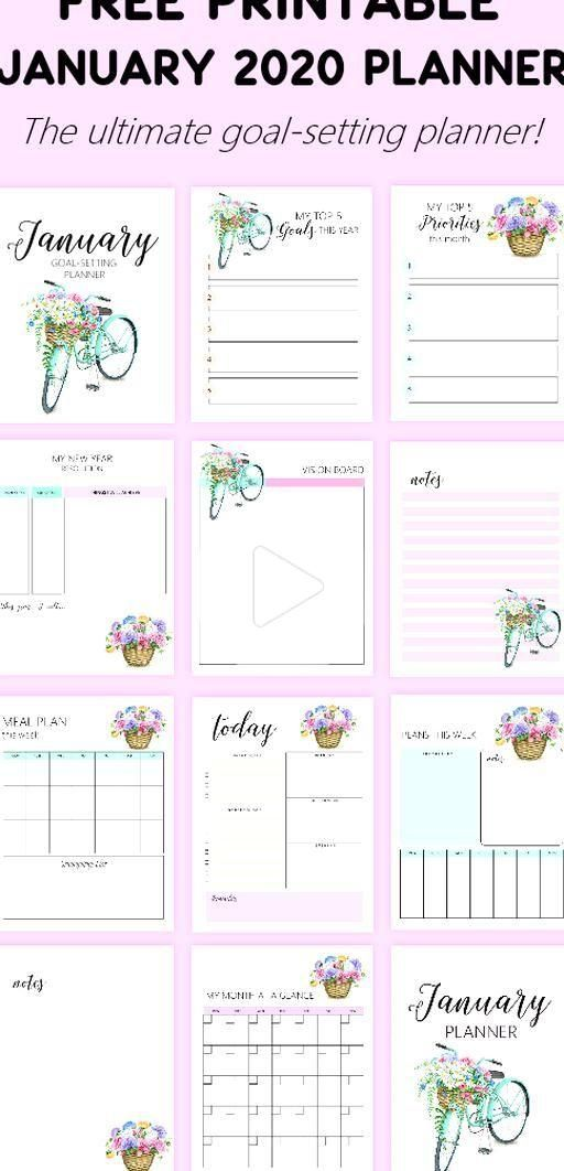 Click to download this January Planner 2020 with Bullet Journal and ge