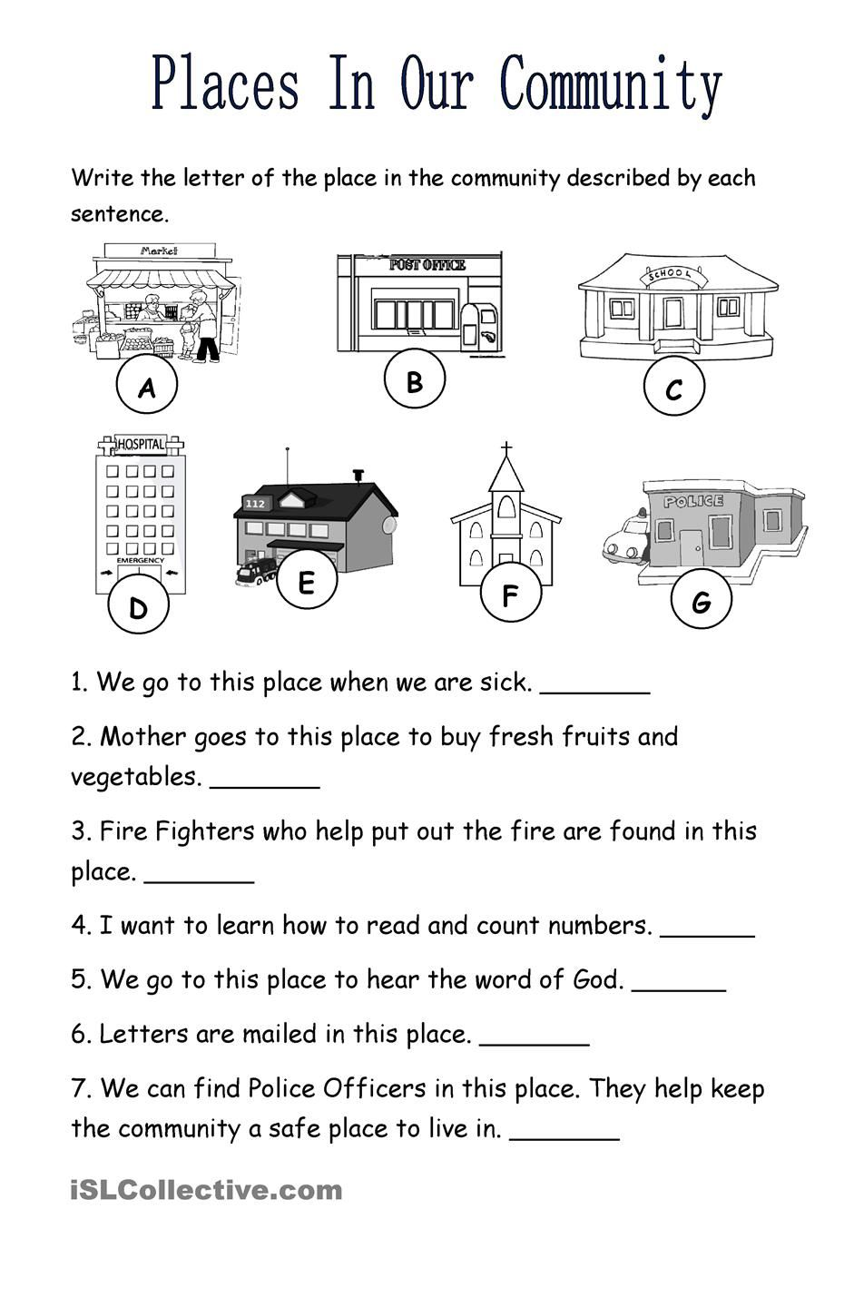 places in the community teaching 1st grade pinterest worksheets printable worksheets. Black Bedroom Furniture Sets. Home Design Ideas