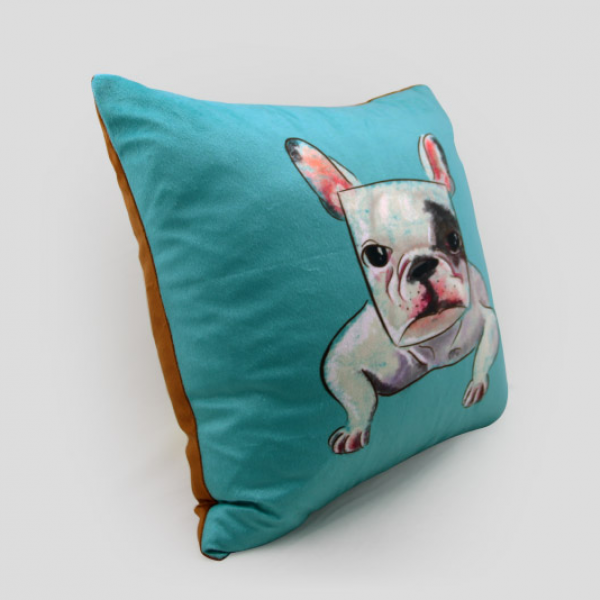 Bulldog Throw Pillow Dog Blue Couch Cushions Suede 18 In