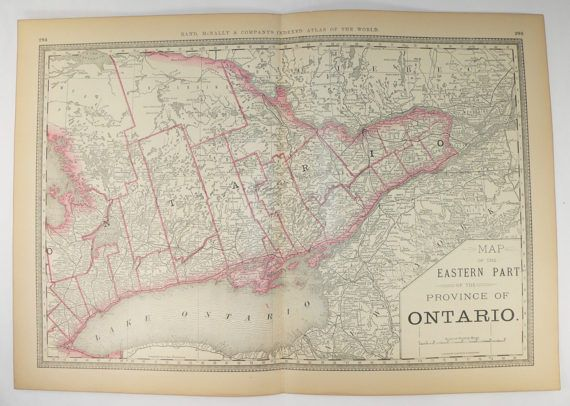 Unique Wedding Gifts Canada: 1881 Rand McNally Map Ontario Canada, Eastern Ontario Map