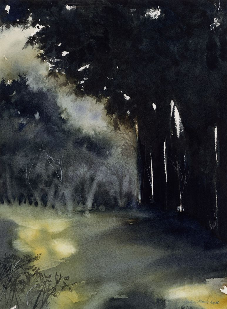 Jake Marshall Watercolor The Golf Course At Night Watercolor Art Watercolor Landscape Landscape Art