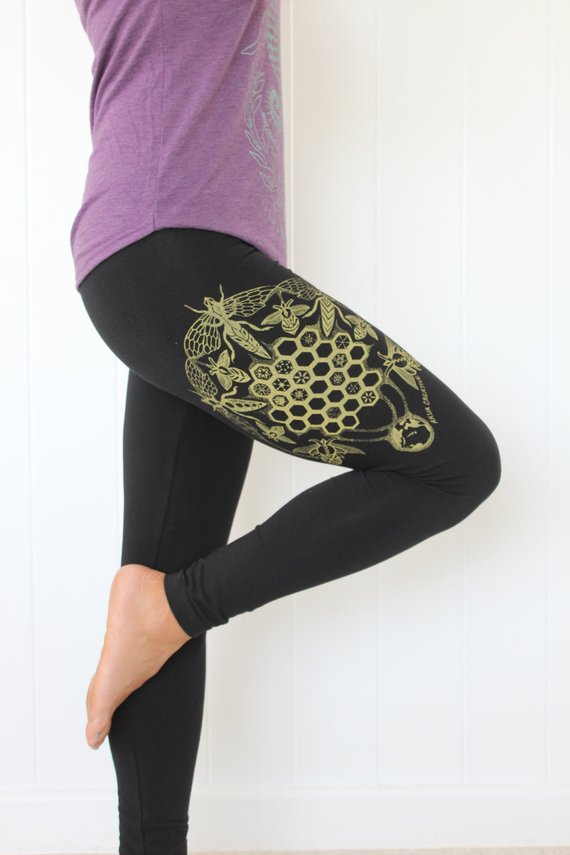 Honey Bee Leggings Ophrys Orchid Leggings Sacred Geometry