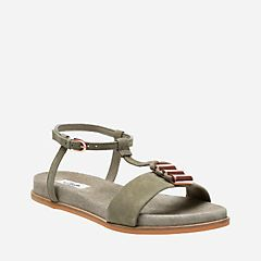 Agean Cool Sage Suede Womens Flat Sandals Clarks® Shoes