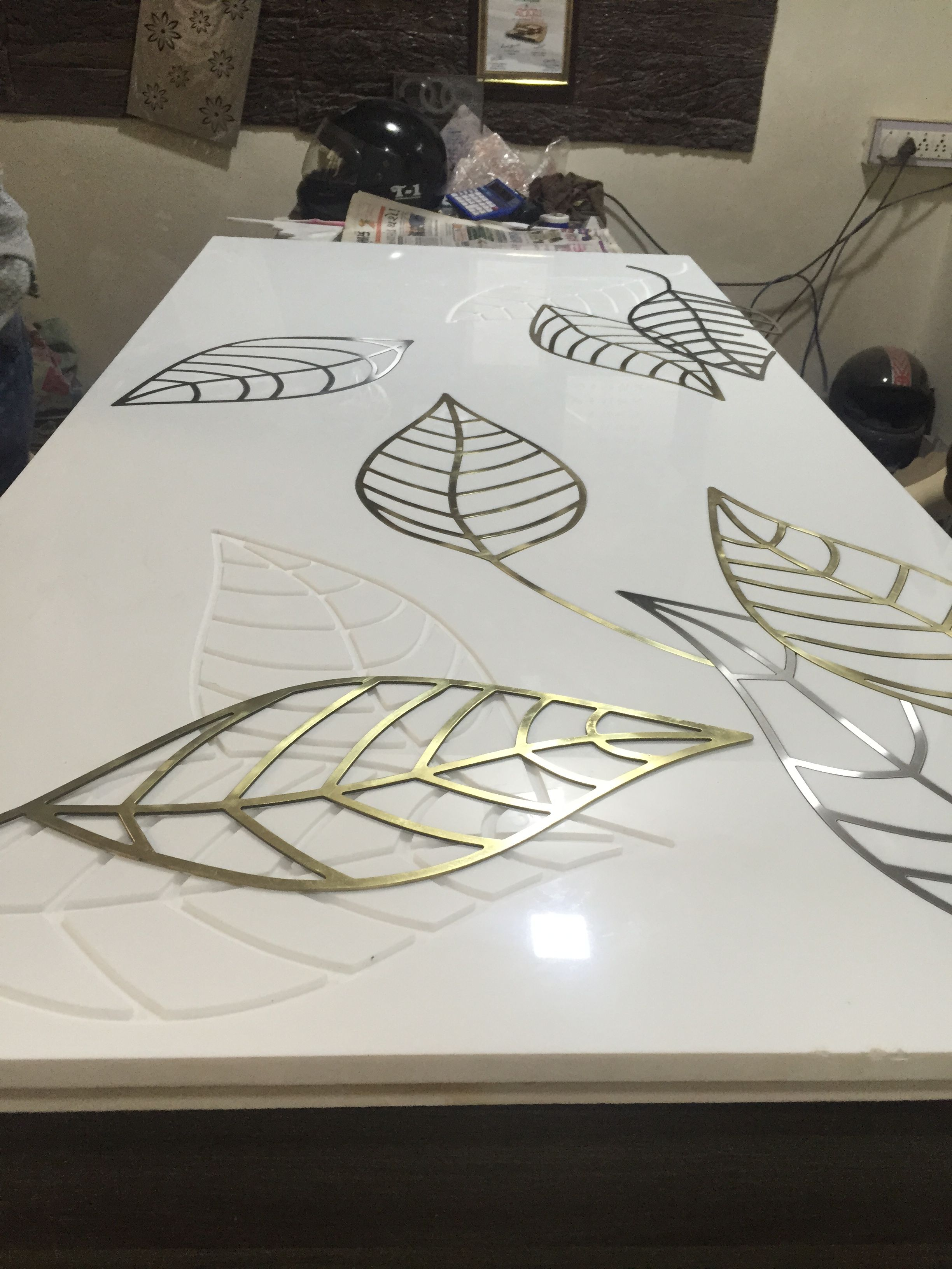 Brass Inlay In Stone Reclaimed Wood Dining Table