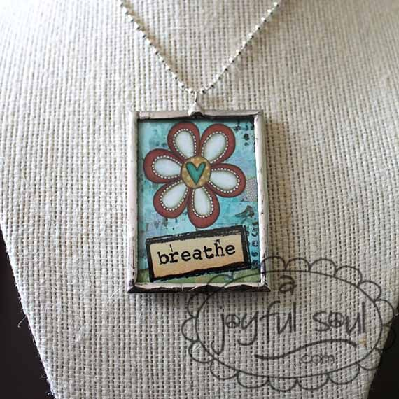 #S3005c - Breathe Flower Pendant Necklace by A Joyful Soul.com  $24 includes chain, pearl drop and FREE SHIPPING in the USA!