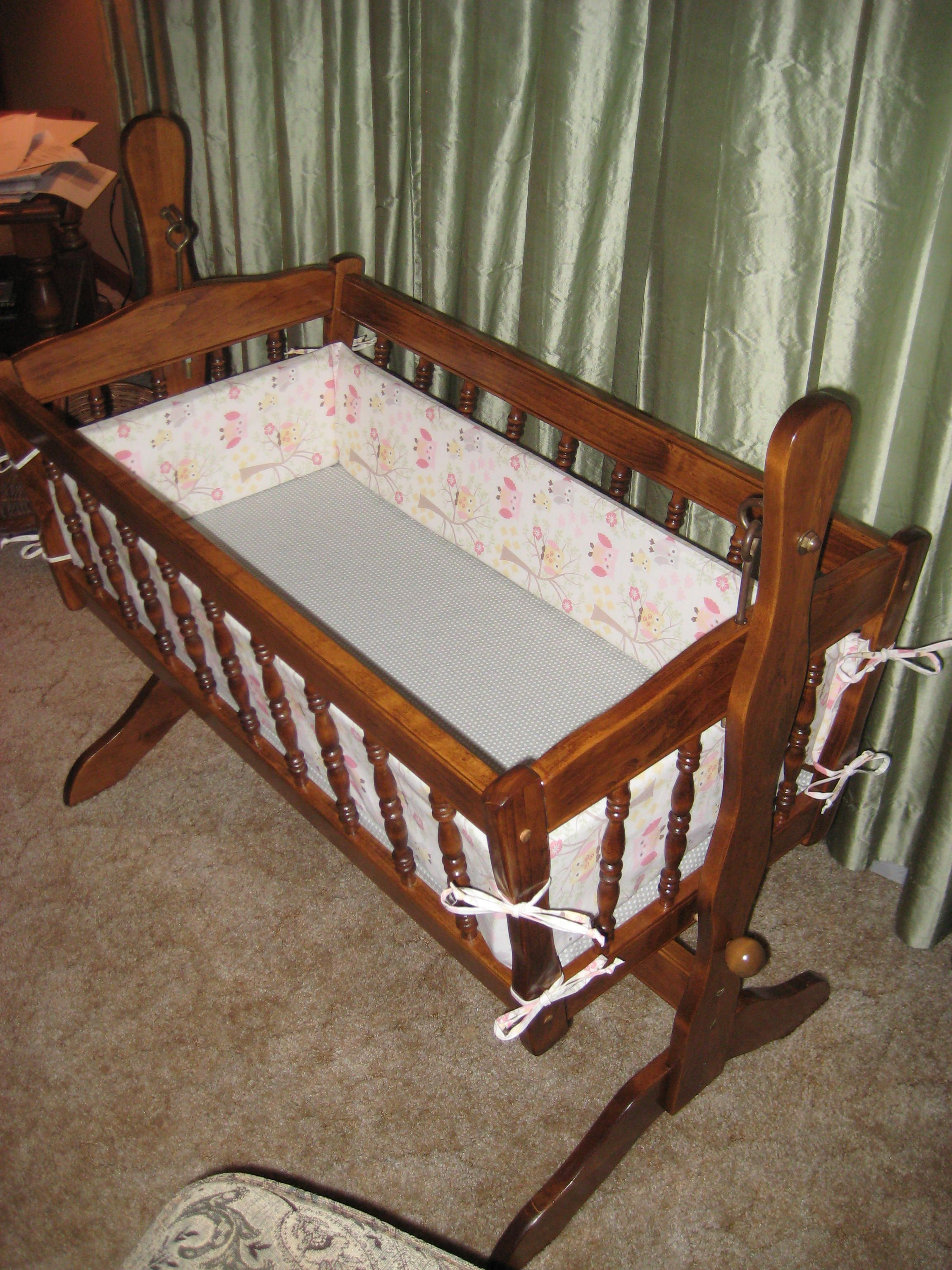 Baby Cradle Sheets Refinished 38 Year Old Cradle And Made New Sheets And Bumper