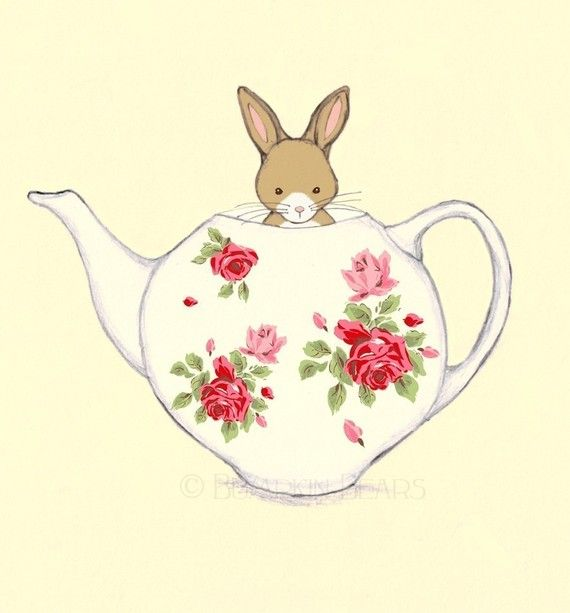 """Friends for Tea - Bunny and her Teapot""  by Bumpkin"