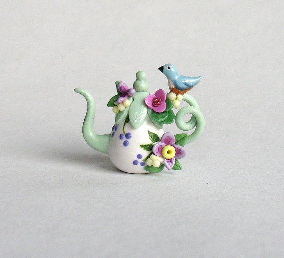 Miniature Blue Bird & Blossoms Display Teapot by ArtisticSpirit