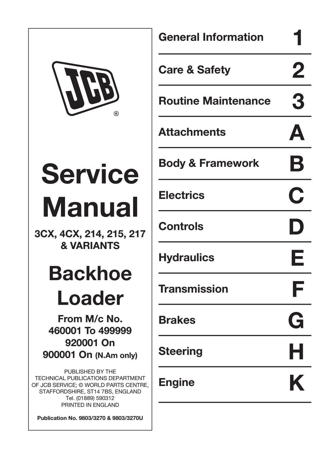 JCB 3CX, 4CX, 214, 215, 217 & Variants Backhoe Loader Service Repair