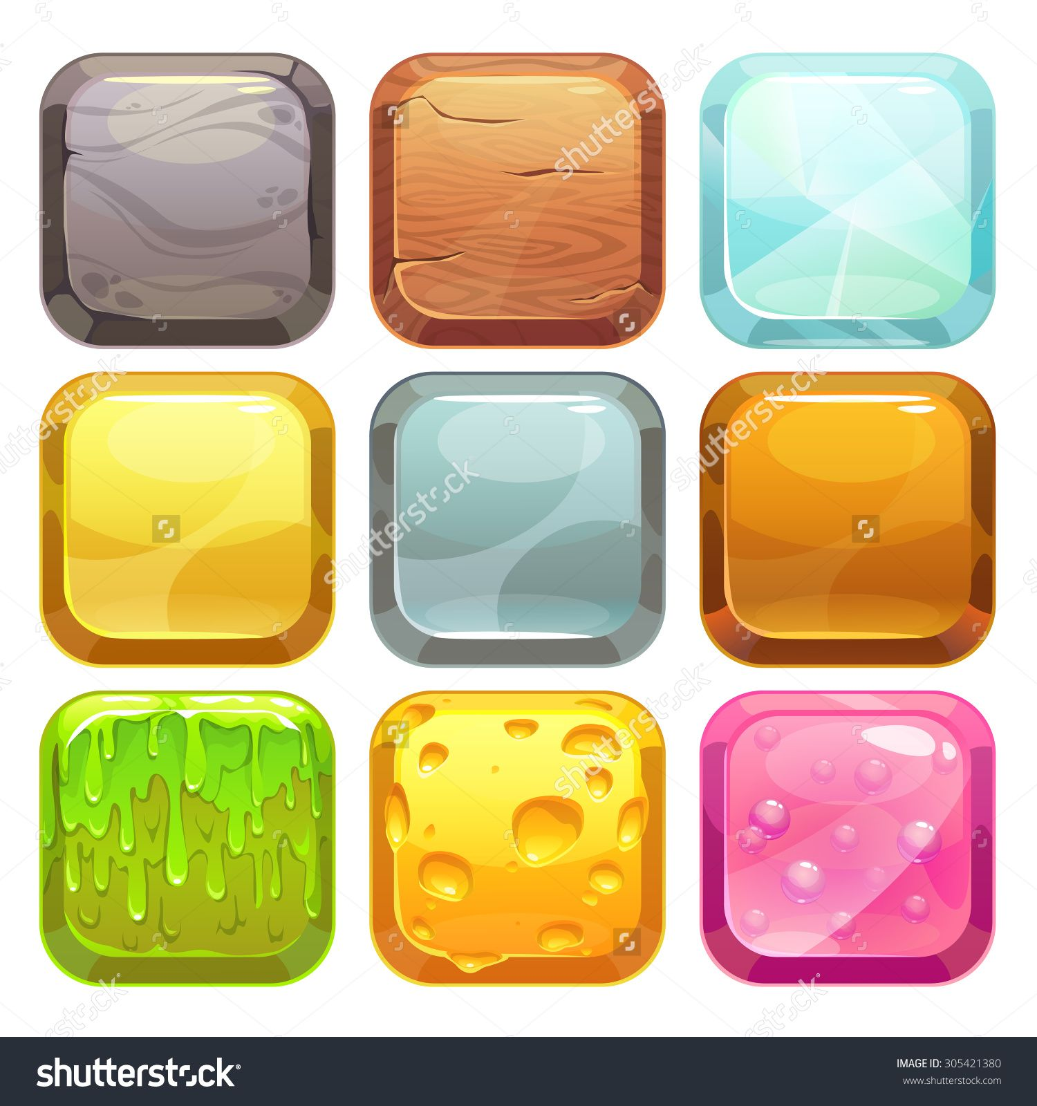 Cartoon Square Buttons Set, App Icons With Different