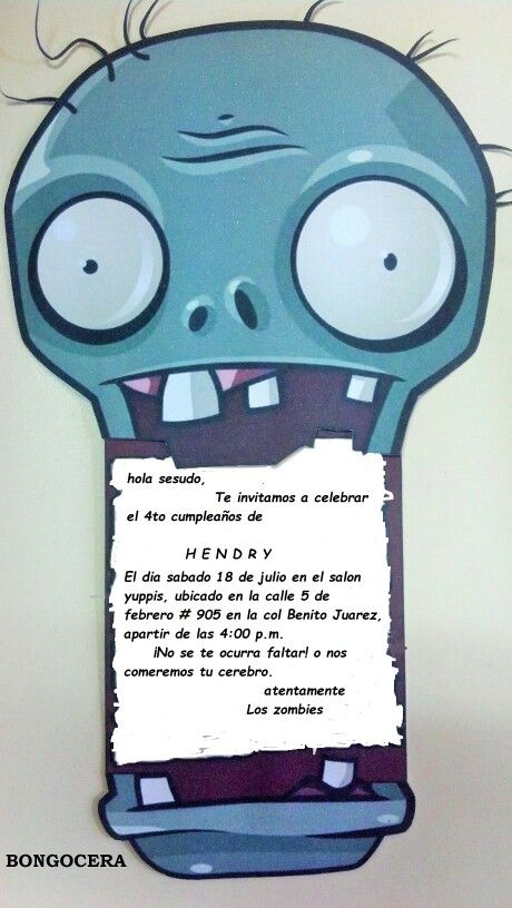 Invitaciones Zombies Fiestas De Cumpleaños Del Zombie