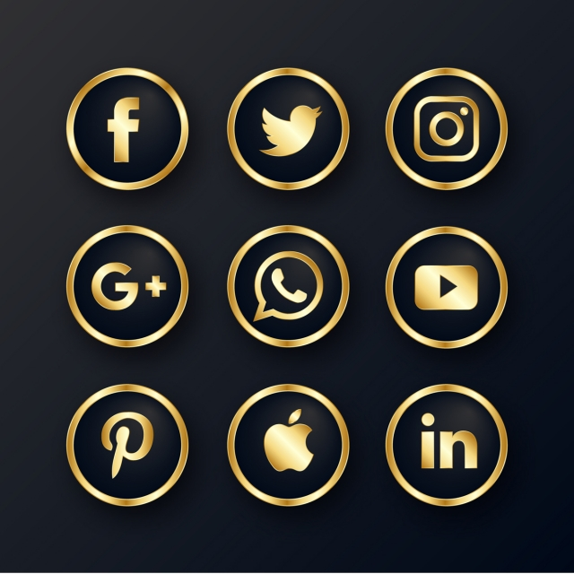 Luxury Golden Social Media Icons Pack in 2020 Social