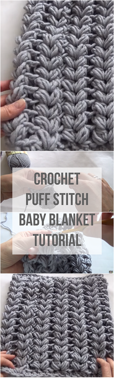 Crochet Puff Stitch Baby Blanket Tutorial + Free Video | Häkeln ...
