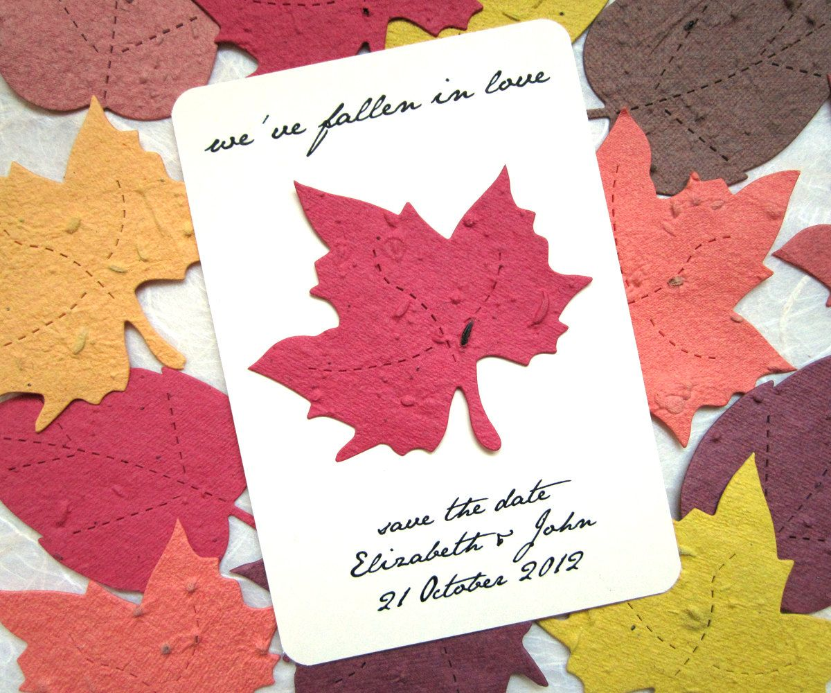 Save the Date Plantable Paper Wedding Cards - Flower Seeds - Maple ...
