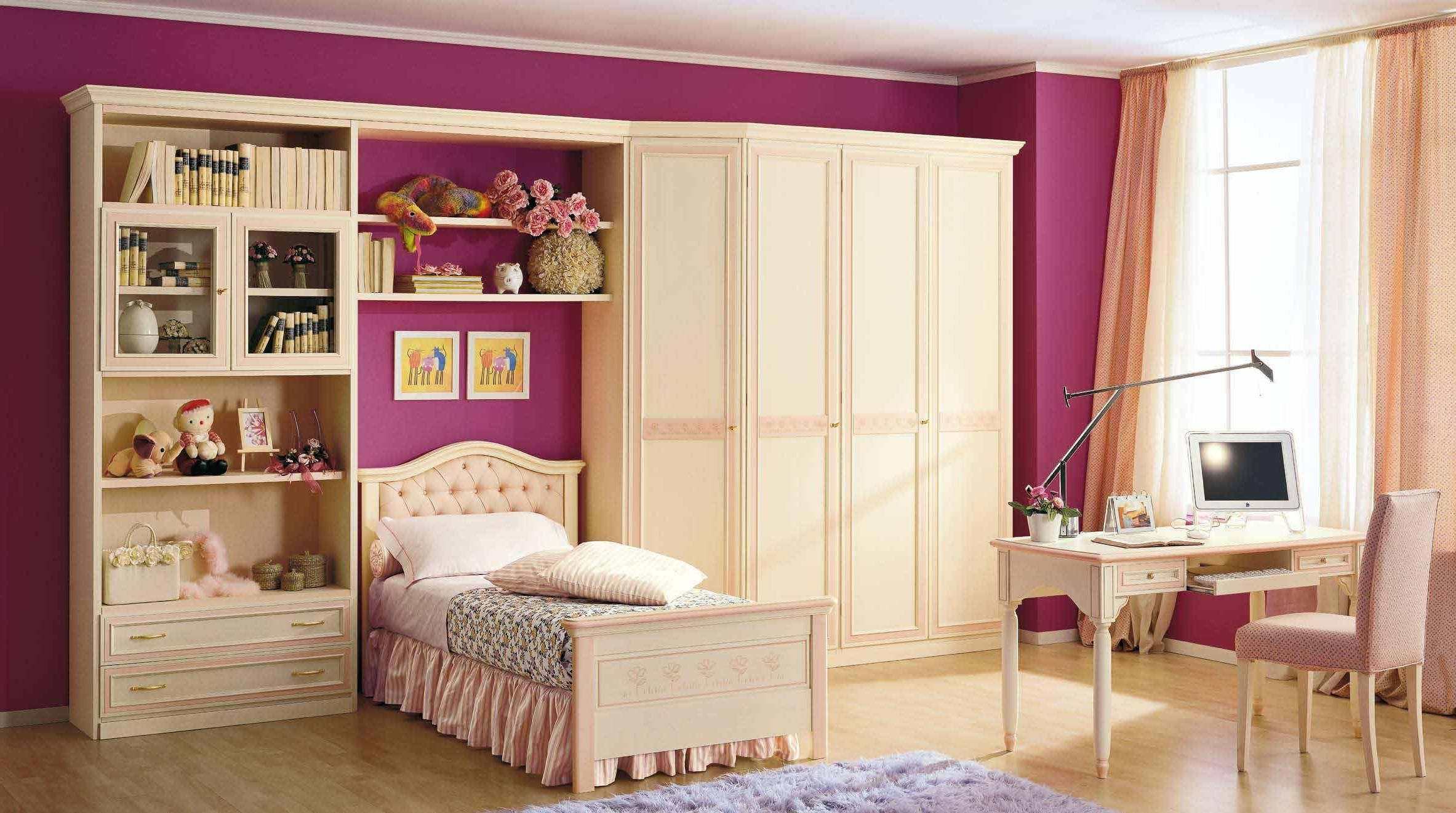 Painting For Girls Bedroom Contemporary Girls Bedroom Decoration With Pink Painting Wall