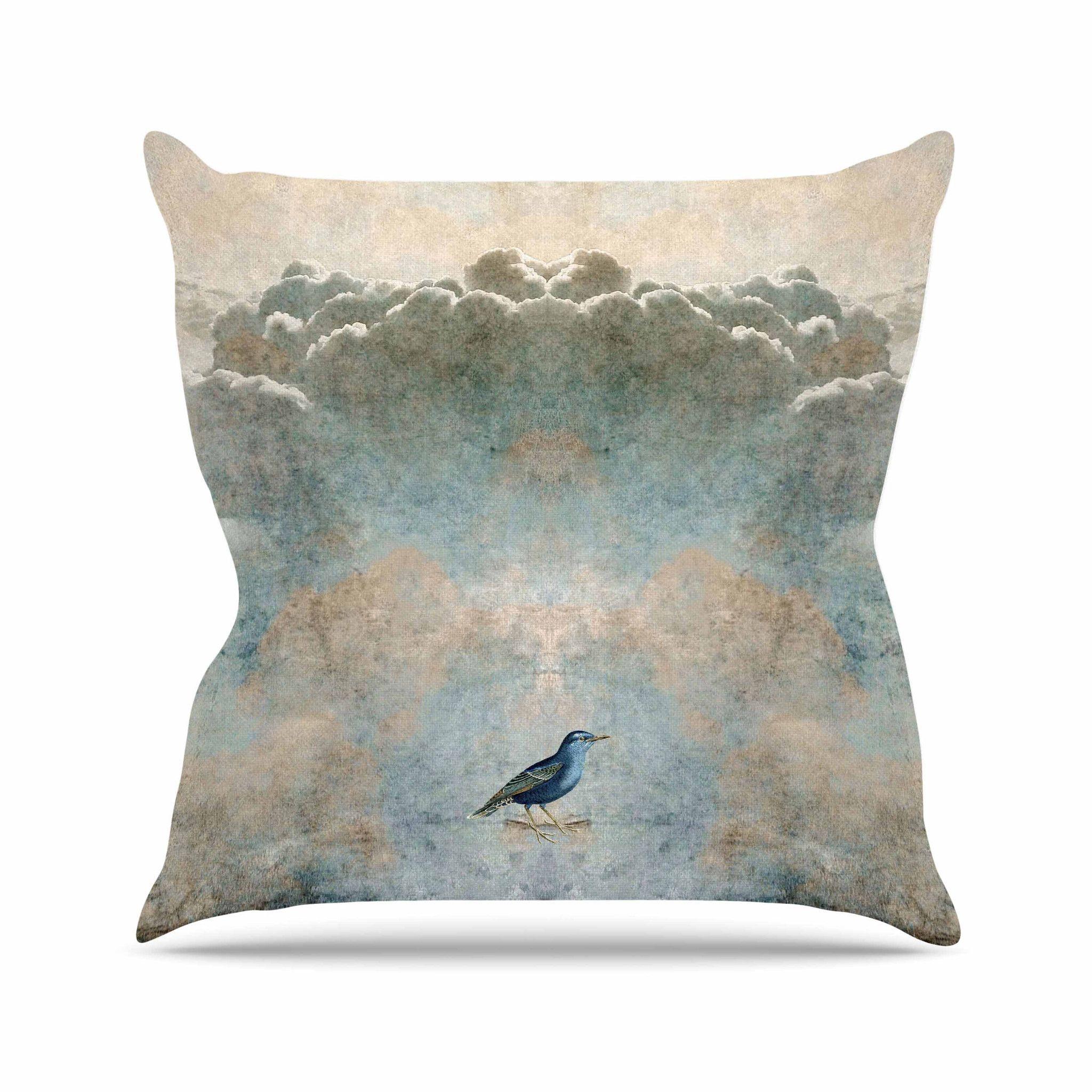 """Pia Schneider """"Heavenly Bird"""" Blue Animals Throw Pillow"""
