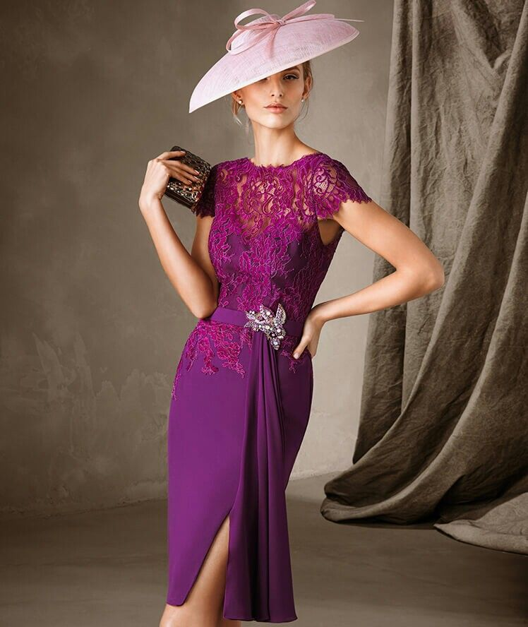 Magenta + uva encaje y falda tubo Perfecto para asisitir una boda o ...
