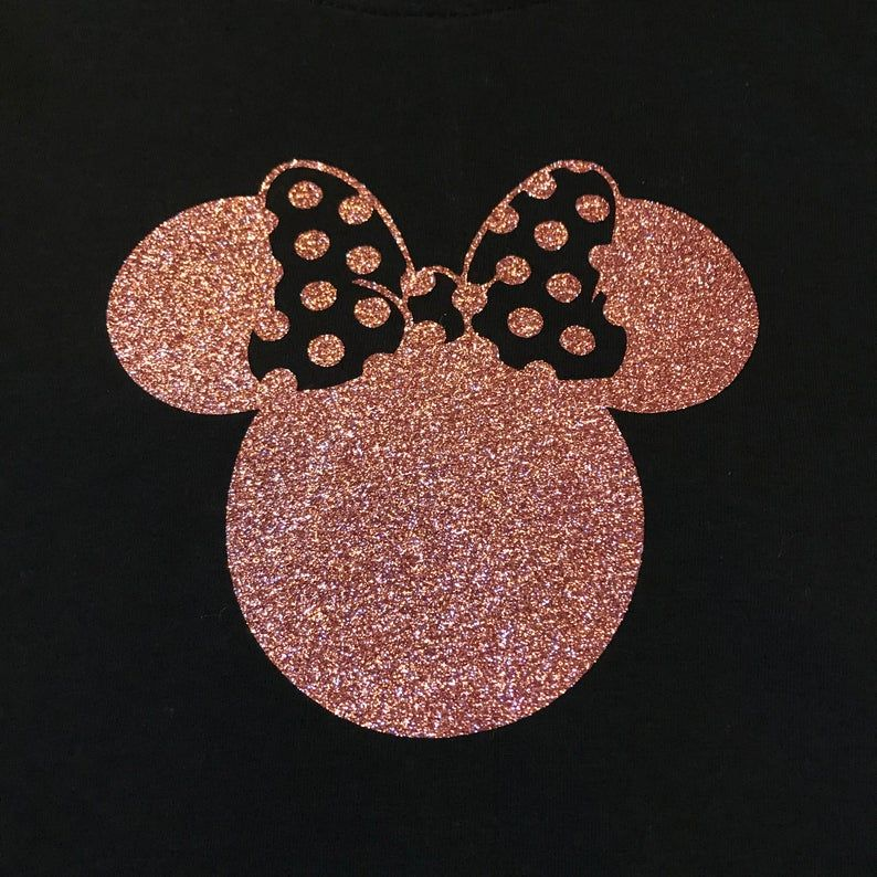 Minnie Mouse Ears And Bow Rose Gold Glitter Top Disney Etsy In 2021 Mickey Mouse Wallpaper Minnie Cute Disney Wallpaper