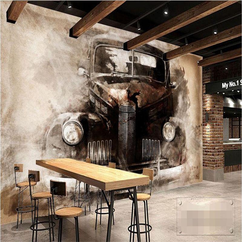 NOSTALGIC VINTAGE BIKE GARAGE SMASHED WALL STICKER ROOM DECORATION DECAL MURAL