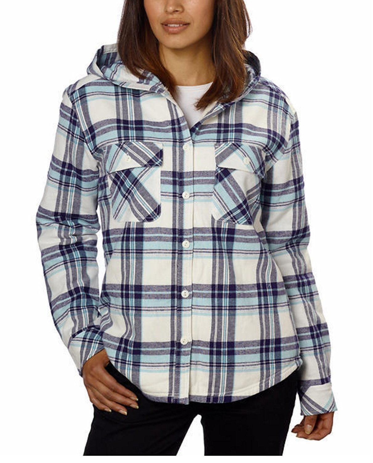 bea2dea94549 Boston Traders Womens Sherpa Lined Hooded Flannel Top