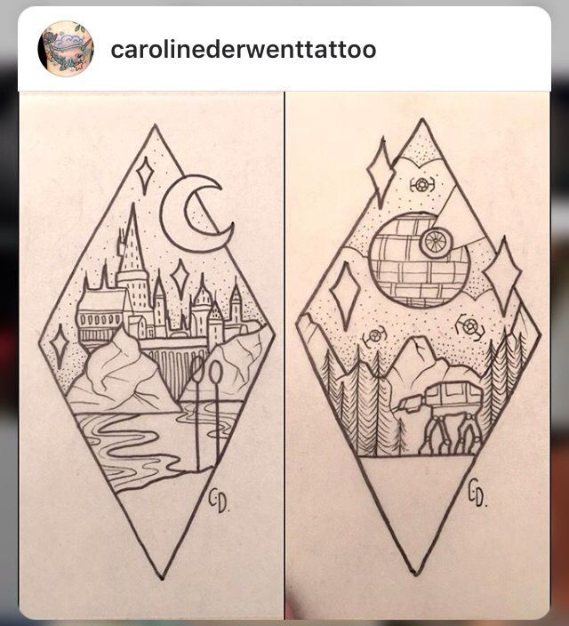 Harry Potter Hogwarts / Star Wars Death Star tattoos
