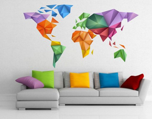 origami couleurs carte du monde sticker de wall decals sur d co maison. Black Bedroom Furniture Sets. Home Design Ideas