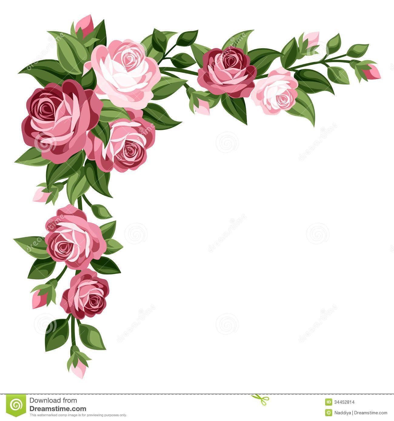Pink Vintage Roses Rosebuds And Leaves Stock Images Image Flower Border Clipart Flower Border Flower Clipart