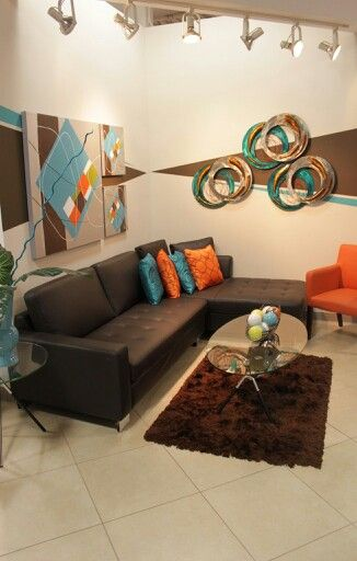 Brown Orange And Turquoise Living Room Turquoise Living Room
