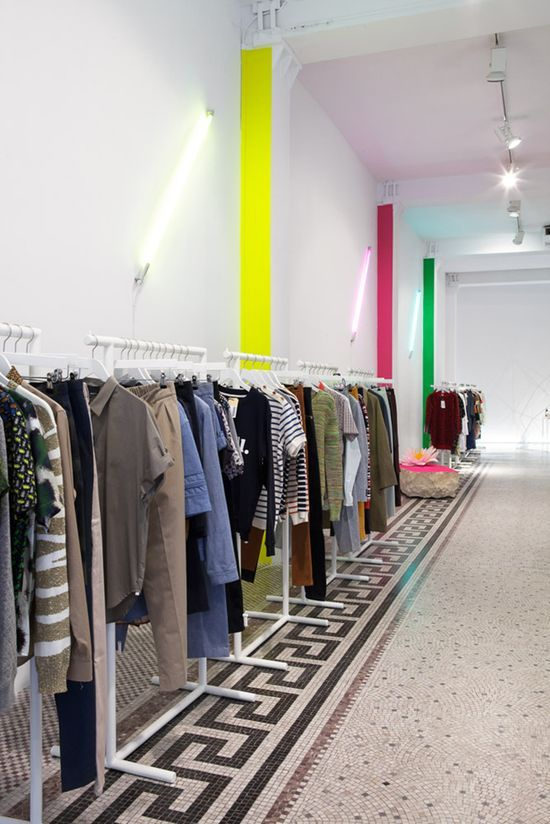 Modern #white with #neon #Retail #Interior #shopping Designer