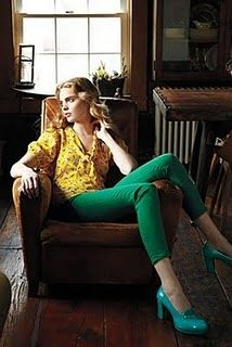 Bright green pants, yellow shirt and blue pumps. sounding good to me