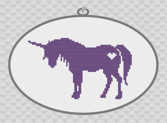 Unicorn Silhouette Cross Stitch PDF Pattern by kattuna on