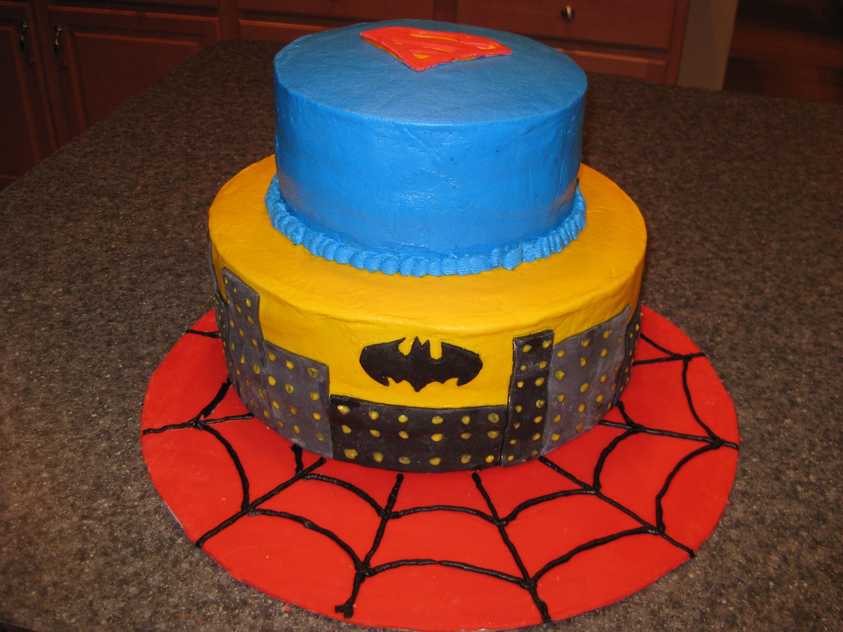 Bottomlayer Partay Superhero Birthday Cake Jpg 3264x2448 Walmart Super Heroes