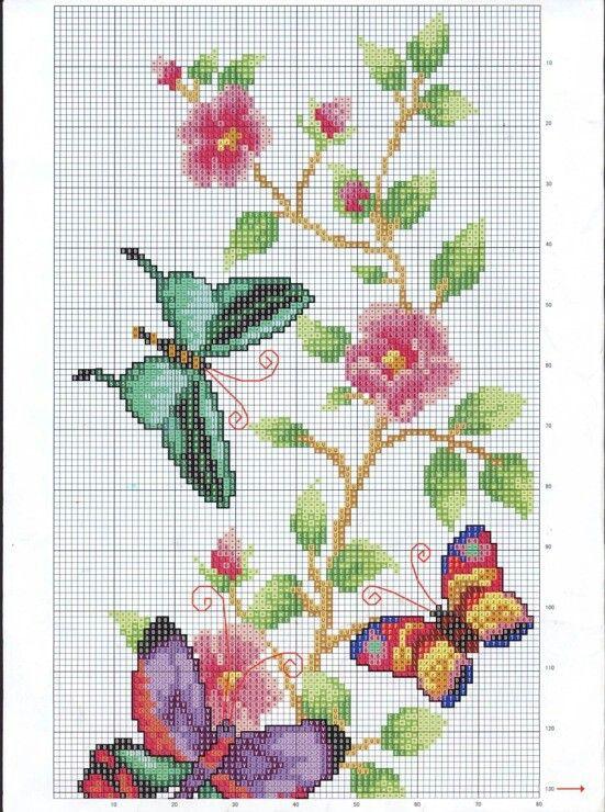 Sommerfugle og blomsterranke del 1..