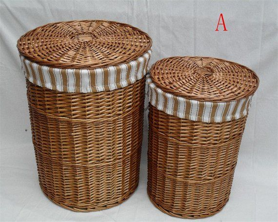Cane Makes Up Wicker Basket The Laundry Clothes
