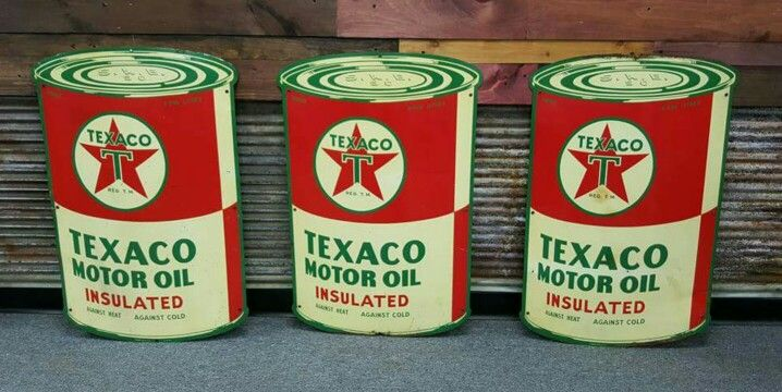 Die-Cut Texaco Motor Oil Signs