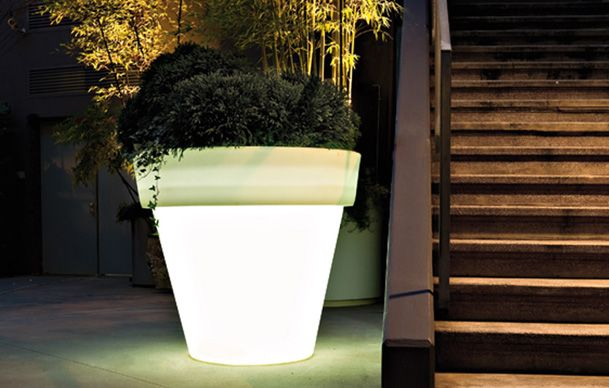 Vas outdoor illuminated planters with light by serralunga available in a version with a fitted light with either an energy saving bulb or an led r